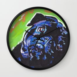 Black Pug Dog Portrait bright colorful Pop Art Painting by LEA Wall Clock