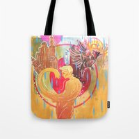 cities Tote Bags featuring Building Cities by Manfish Inc.