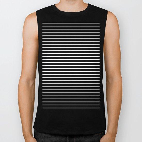Horizontal Lines (White/Black) Biker Tank