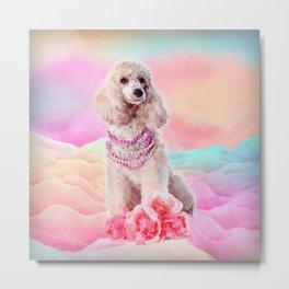 Watercolor digital art Poodle with flowers Metal Print