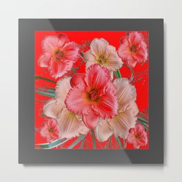 GREY-RED  PINK & CREAM DAYLILIES FLORAL Metal Print