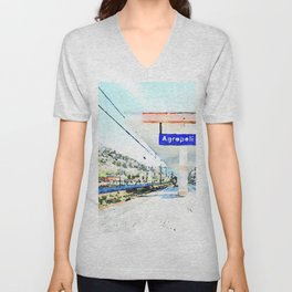 Sign and shelter of the Agropoli rail station Unisex V-Neck