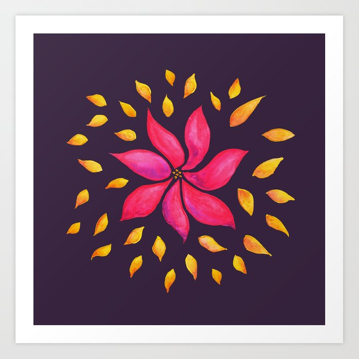 Whimsical Watercolor Flower In Pink And Purple Art Print