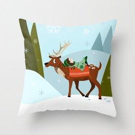 Christmas deer and elf Throw Pillow
