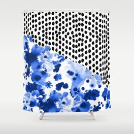 Monroe - painted abstract watercolor ink polka dots dotted indigo blue minimalism nursery Shower Curtain