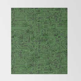 Circuit Board // Light on Dark Green Throw Blanket