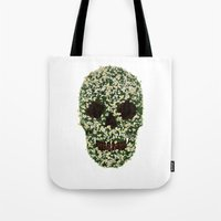 pushing daisies Tote Bags featuring Pushing up Daisies by Luke Dwyer - Artist