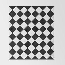 Large Diamonds - White and Black Throw Blanket