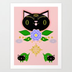 Black Kitten Symmetry on pink Art Print