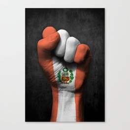 Peruvian Flag on a Raised Clenched Fist Canvas Print