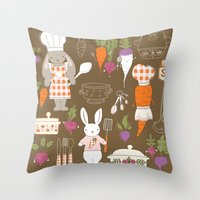 chef Throw Pillows featuring Rabbit Chef by Lara Lockwood