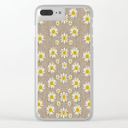 Star fall of fantasy flowers on pearl lace Clear iPhone Case