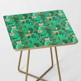 Sloths in the Emerald Jungle Pattern Side Table