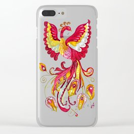 Watercolor Firebird Phoenix Fantasy Creature Clear iPhone Case