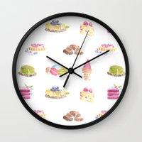 dessert Wall Clocks featuring Dessert Pattern by Stephanie Priscilla