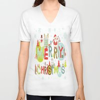 merry christmas V-neck T-shirts featuring MERRY CHRISTMAS by Acus