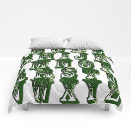 Green CanalFlowers Alphabet Comforters