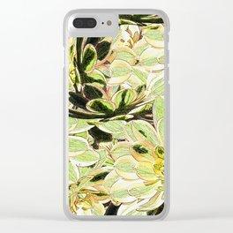 Yellow Desert Echeveria Pattern Clear iPhone Case