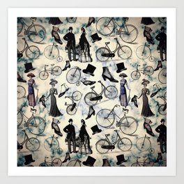 Victorian Bicycles and Fashion Art Print