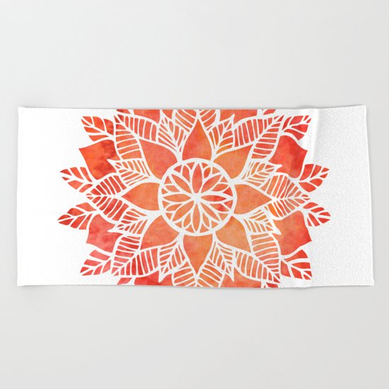 Orange Mandala Beach Towel