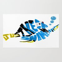 "finding nemo Area & Throw Rugs featuring ""just keep swimming"" (Finding Nemo- Dory) by Art of Fernie"