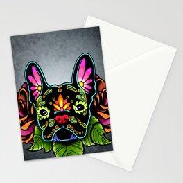 French Bulldog in Black - Day of the Dead Bulldog Sugar Skull Dog Stationery Cards