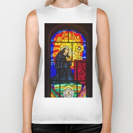 Stained Glass of the Cathedral Almudena Biker Tank