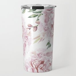 Girly Pastel Pink Roses Garden Travel Mug
