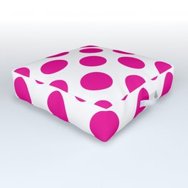 Pink Large Polka Dots Pattern Outdoor Floor Cushion