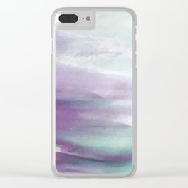 Purple green watercolor swash Clear iPhone Case