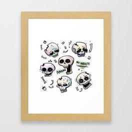 Anxiety Skulls Framed Art Print