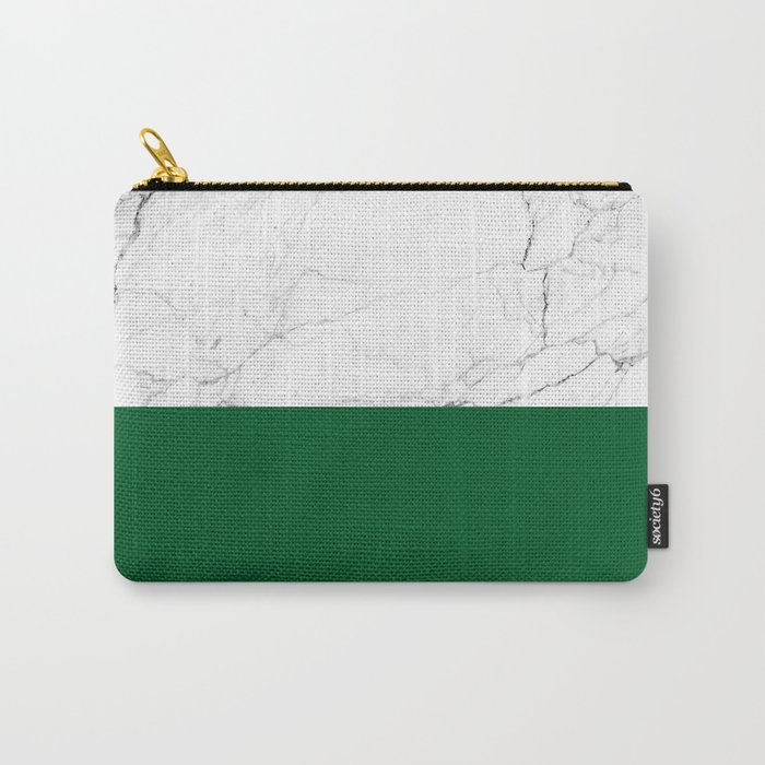 emerald green and white marble Carry-All Pouch