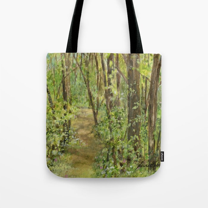 Wooded Path Watercolor Landscape Detailed Realism Tote Bag