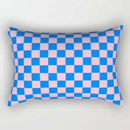 Cotton Candy Pink and Brandeis Blue Checkerboard Rectangular Pillow