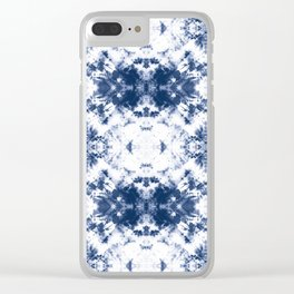 Shibori Tie Dye 3 Indigo Blue Clear iPhone Case
