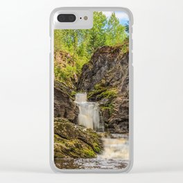 Forest Waterfall Clear iPhone Case