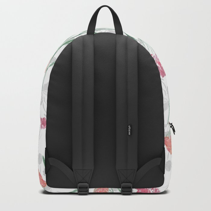 Watercolor pink-red, orange flowers. Backpack
