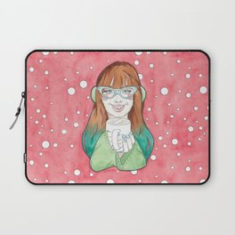 Merry Christmas / Blue Ombre Haired Noelle Drinking Hot Chocolate Laptop Sleeve