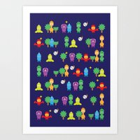 dinosaurs Art Prints featuring Dinosaurs! by ShannonHatchNZ
