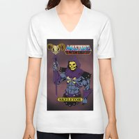 skeletor V-neck T-shirts featuring Skeletor by W. Keith Patrick