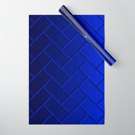 Herringbone Gradient Dark Blue Wrapping Paper