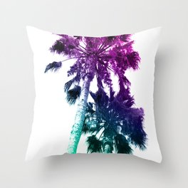 Retro Vintage Ombre Pop Art Los Angeles, Southern California Palm Tree Colored Print Throw Pillow