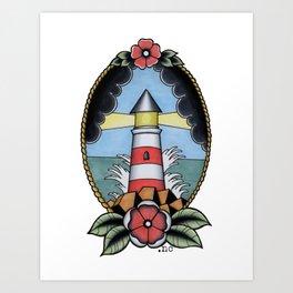 Traditional Tattoo Lighthouse Pastel Art Print