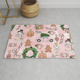 THE VERY PINK CHRISTMAS WATERCOLOR PATTERN Rug