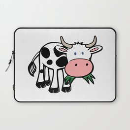 Black and White Steer Munching Grass Laptop Sleeve