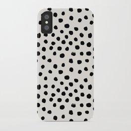 Preppy brushstroke free polka dots black and white spots dots dalmation animal spots design minimal iPhone Case