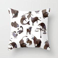Skeleton zodiac Throw Pillow