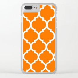 MOROCCAN ORANGE AND WHITE PATTERN Clear iPhone Case