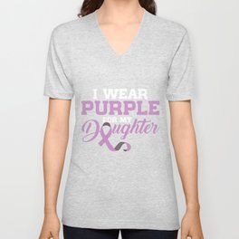 I Wear Purple for my Daughter Cystic Fibrosis CF Awareness Unisex V-Neck