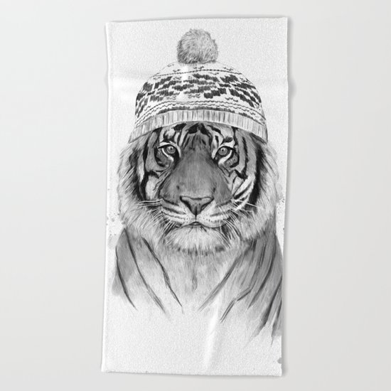 Siberian tiger (b&w) Beach Towel